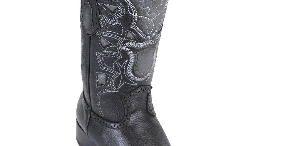 Los Altos Men's Grisly European Toe Cowboy Boots - Black