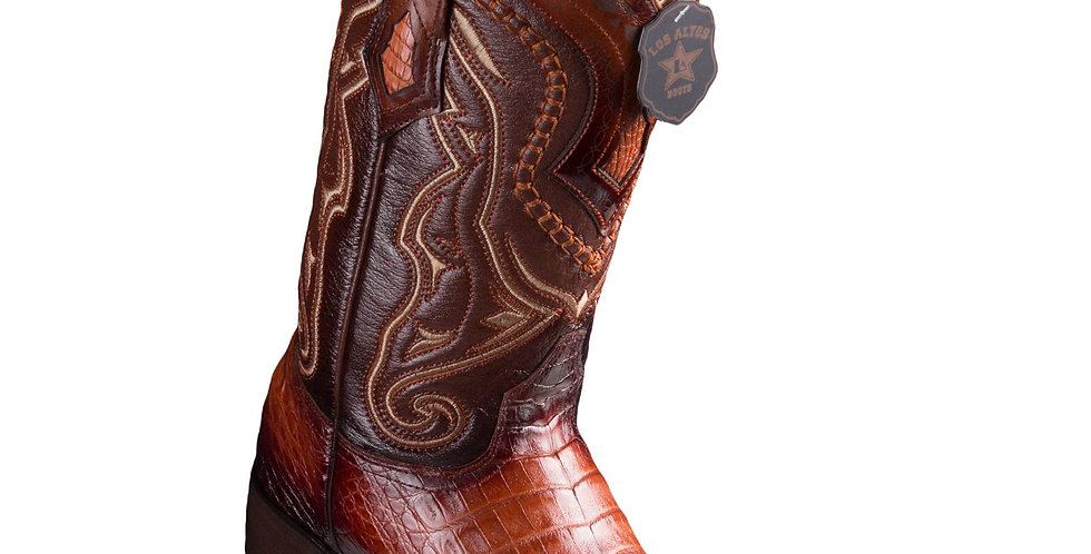 Los Altos Caiman Belly Faded Cognac Pointed Toe Cowboy Boots