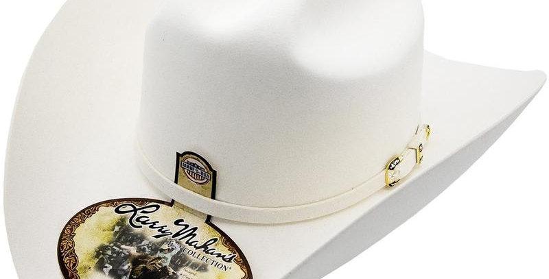 10x Larry Mahan Oro Blanco Fur Felt Cowboy Hat White