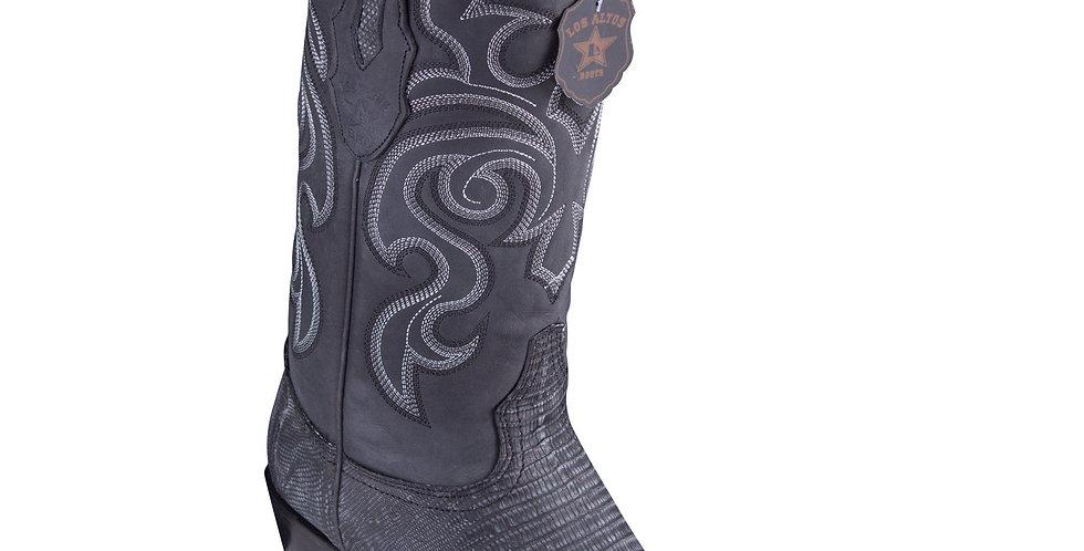 Los Altos Lizard Teju Sanded Black Cowboy Boots J-Toe