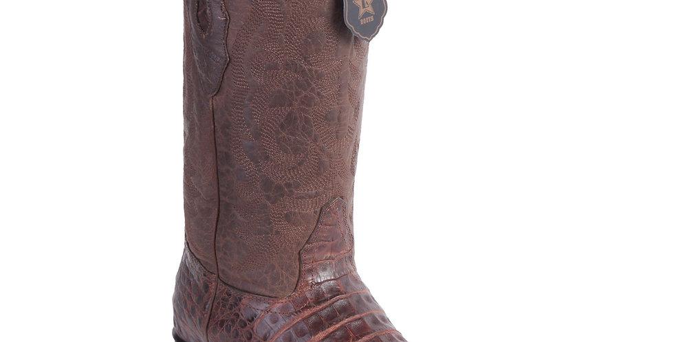 Los Altos - Men's Brown Grasso Caiman Belly Snip Toe Boots