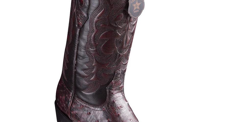 Los Altos J-Toe Ostrich Black Cherry Cowboy Boots
