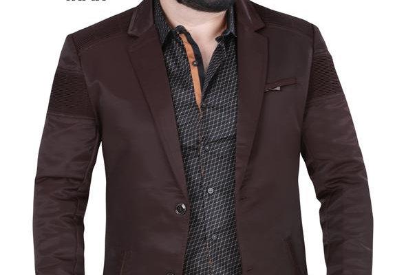 Modern Regular Fit Cut Fabric Whit Design Blazer - Wine