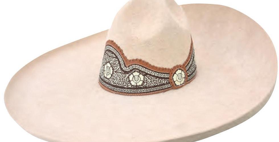 Sombrero Charro De Lana Floreado Crema
