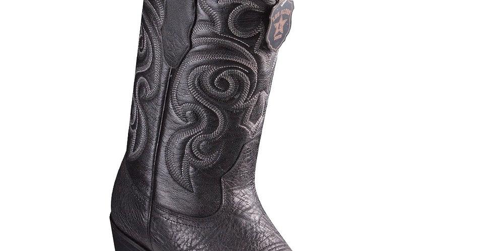Los Altos Bull Shoulder Black Cowboy Boots J-Toe