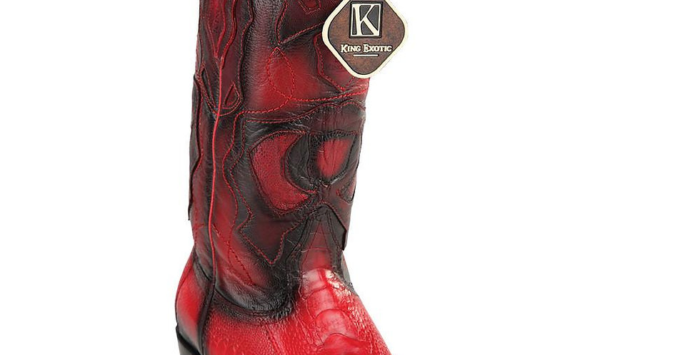 King Exotic Men's Western Ostrich Leg Snip Toe Boots