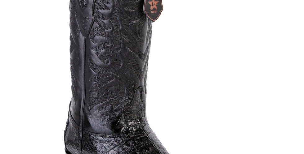 Los Altos Men's Black Caiman Belly Cowboy Boots 7-Toe