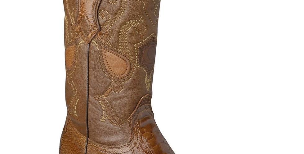 Cuadra Mens Ostrich Leg Honey Cowboy Boots - Semi Oval