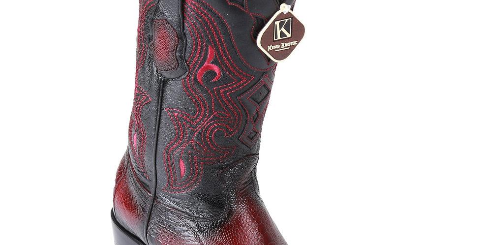 King Exotic Men's Ostrich Leg Faded Burgundy Cowboy Boots - H79 Dubai Toe