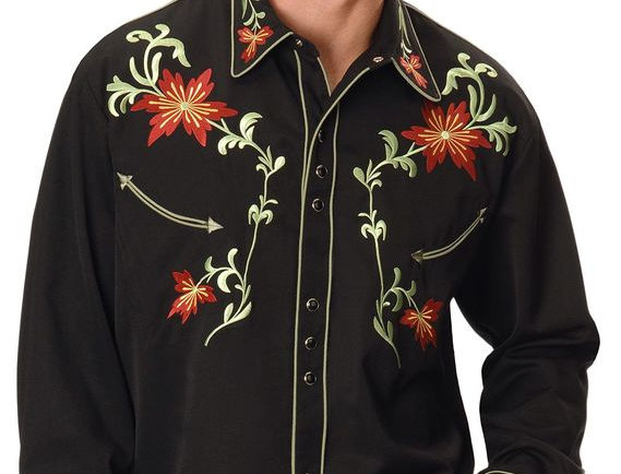 Scully Floral Embroidery Vintage Western Shirt
