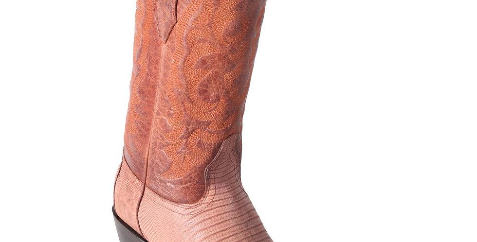 Los Altos Lizard Teju R-Toe Greasy Finish Cognac Cowboy Boots
