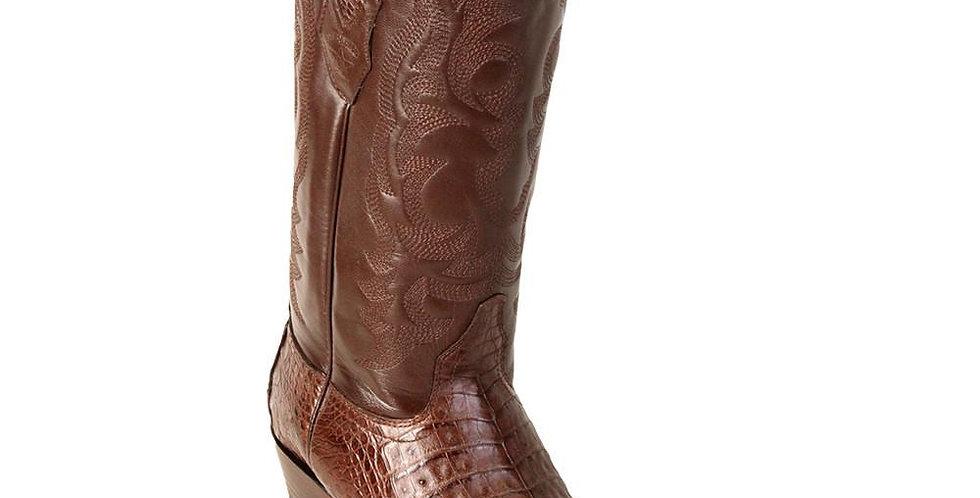 Los Altos Men's Brown Caiman Belly Snip Toe Western Boot