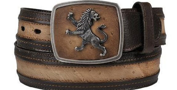 Cuadra Men's Lion Buckle Ostrich Belts