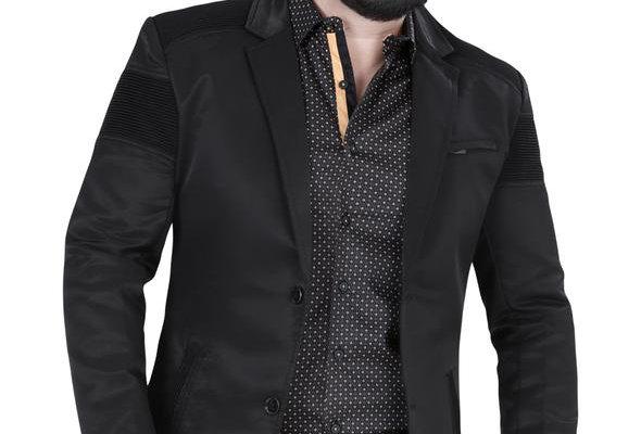 Modern Regular Fit Cut Fabric Whit Design Blazer - Black