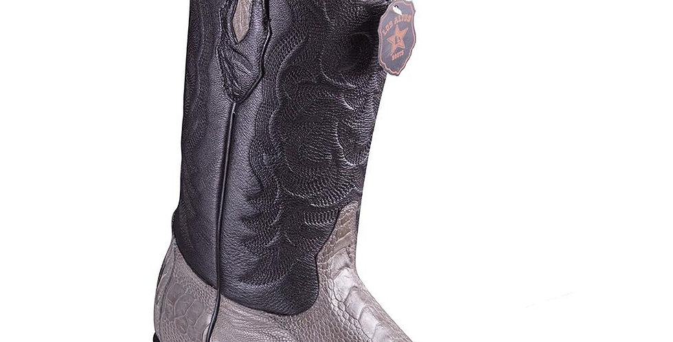 Los Altos Men's Grey Ostrich Leg Snip Toe Cowboy Boots