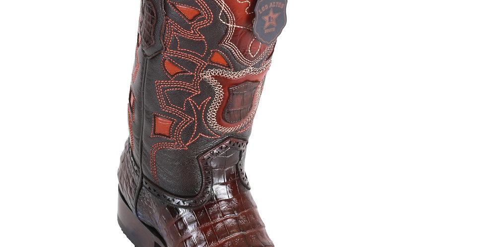 Los Altos Men's Caiman Belly European Toe Cowboy Boots - Faded Brown