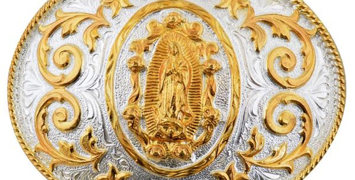 OVAL METAL BUCKLE WITH VIRGIN MARY WD021