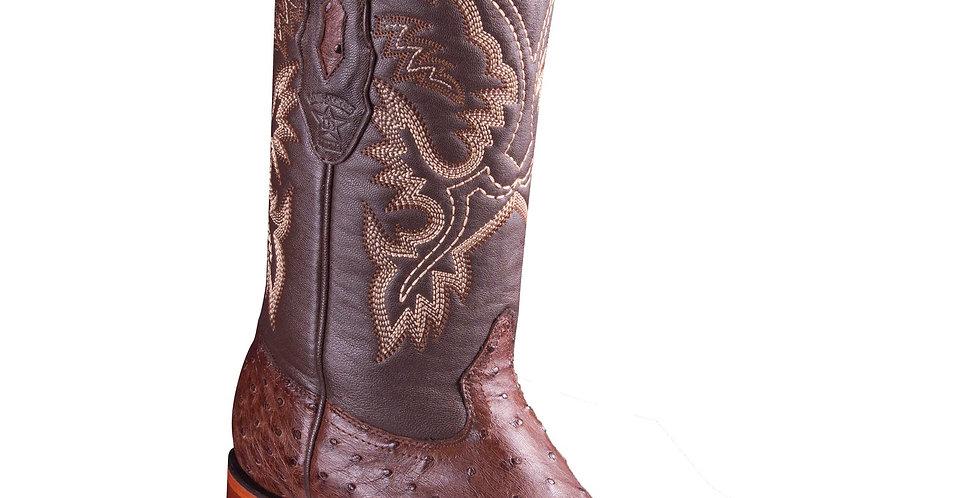 Los Altos Ostrich Wide Square Boots - Tabacco