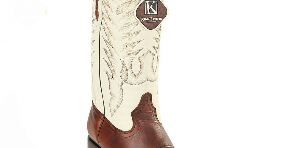 King Exotic Men's Pull Up Brown Wide Square Toe Cowboy Boot