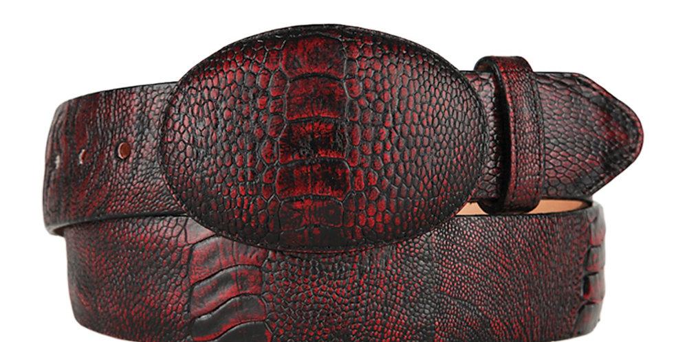 Black Cherry Ostrich Leg Cowboy Belt