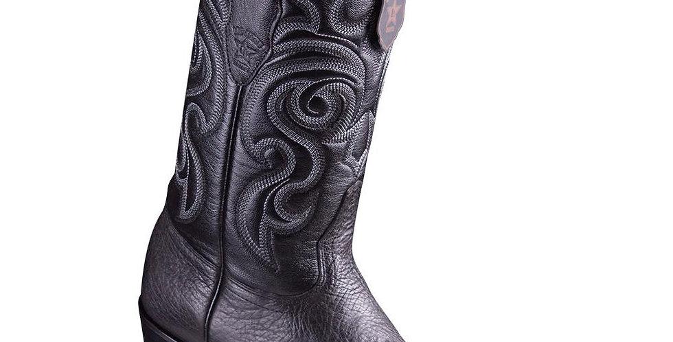 Los Altos Men's Bull Shoulder Black Snip Toe Cowboy Boots