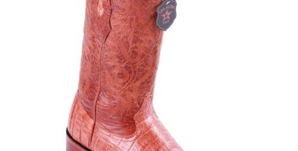 Los Altos Cognac Caiman Belly Wide Square Toe Boots - Pieced Vamp