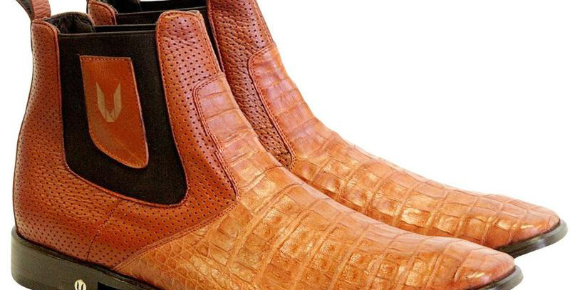 Men's Vestigium Genuine Caiman Belly Chelsea Boots Handcrafted