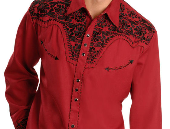 Scully Men's Embroidered Retro Western Shirt - Big & Tall