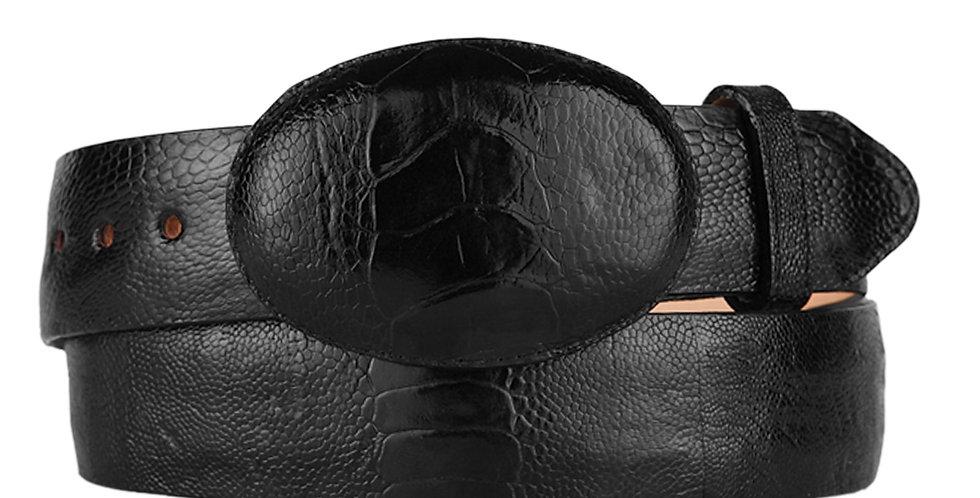 Men's Black Ostrich Leg Cowboy Belt