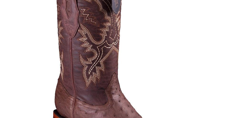 Los Altos Men's Ostrich Wide Square Boots - Brown Greasy Finish
