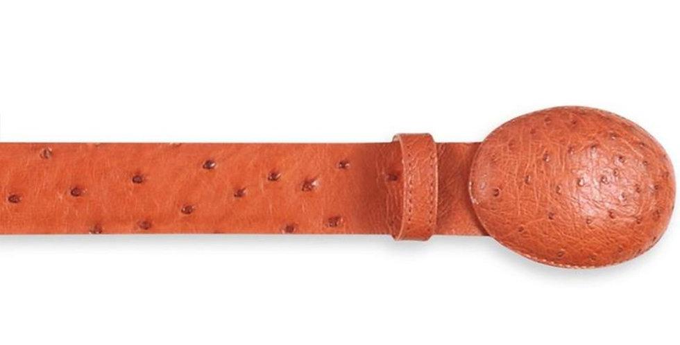 Los Altos Men's Cognac Ostrich Cowboy Belt