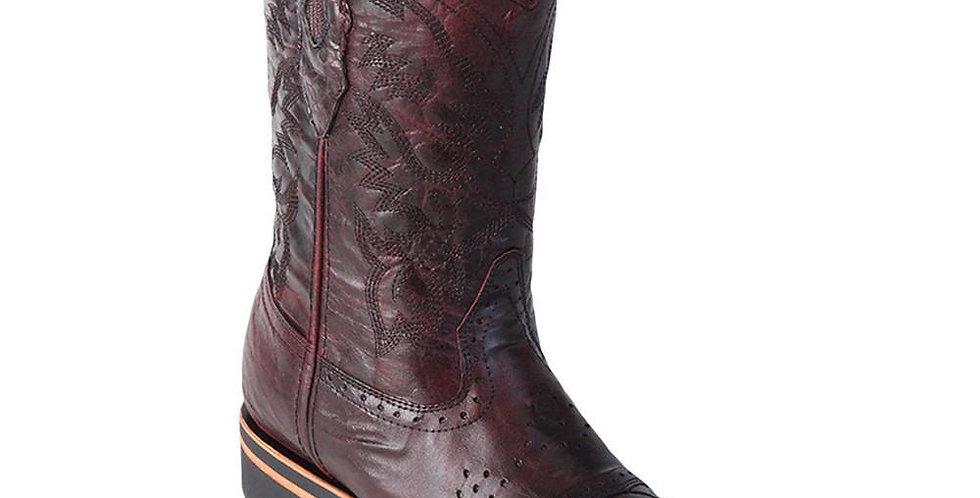 Los Altos Men's Ostrich Leg Saddle Vamp Square Toe Boots