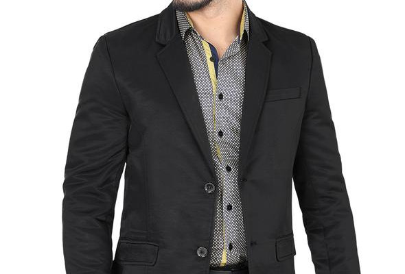 Modern Regular Fit Cut Fabric Whit Design Blazer - Black