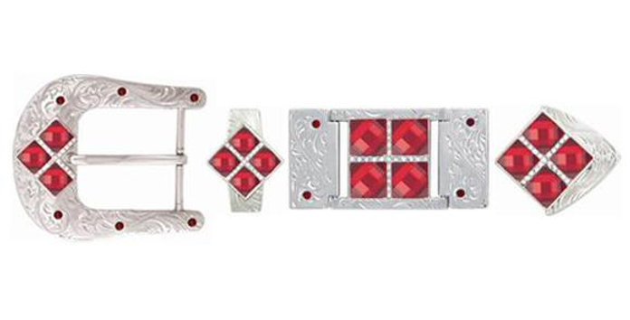 IRONWORK SILVER 4 STONES RED BK3312