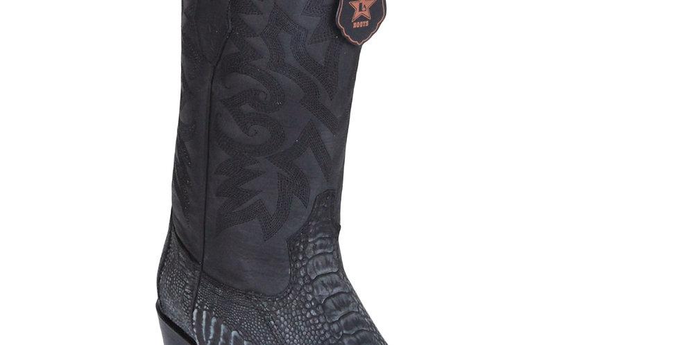 Los Altos Men's Sanded Black Ostrich Leg Square 7-Toe Cowboy Boots