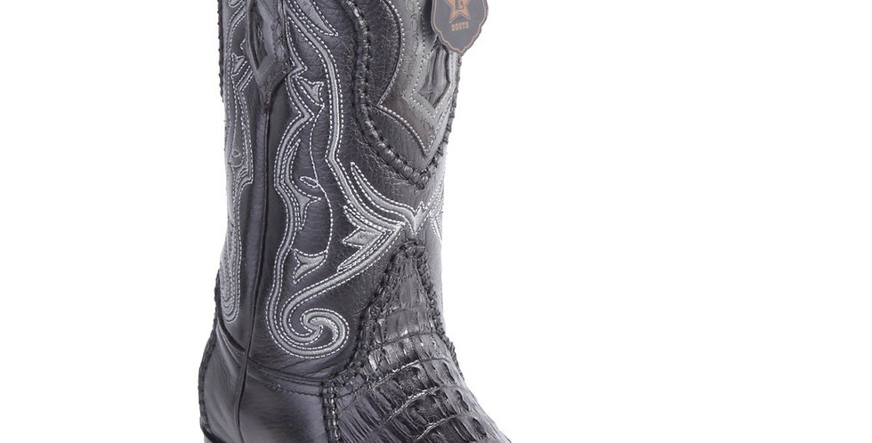 Los Altos Boots Caiman Tail 3x Toe Stitched Boots - Black