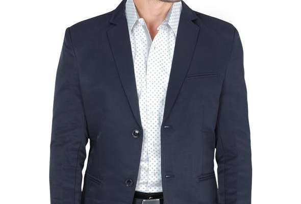 Modern Regular Fit Cut Fabric Whit Design Blazer - Navy