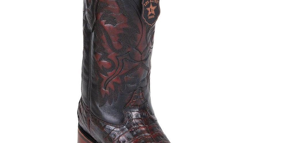 Los Altos Men's Black Cherry Caiman Belly Square Toe Boots
