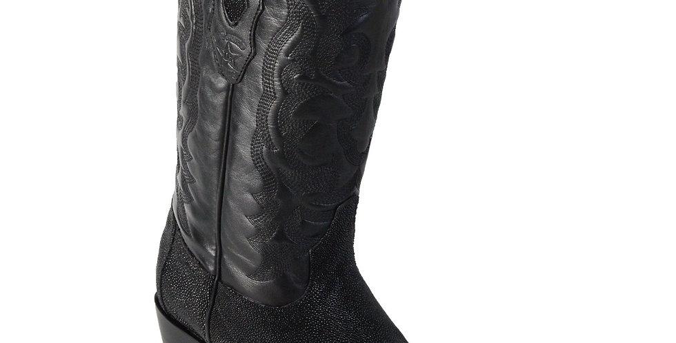 Los Altos Single Stone Stingray R-Toe Black Cowboy Boots
