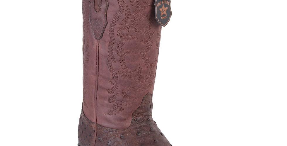 Los Altos Men's Ostrich Brown Grasso Snip Toe Western Boots