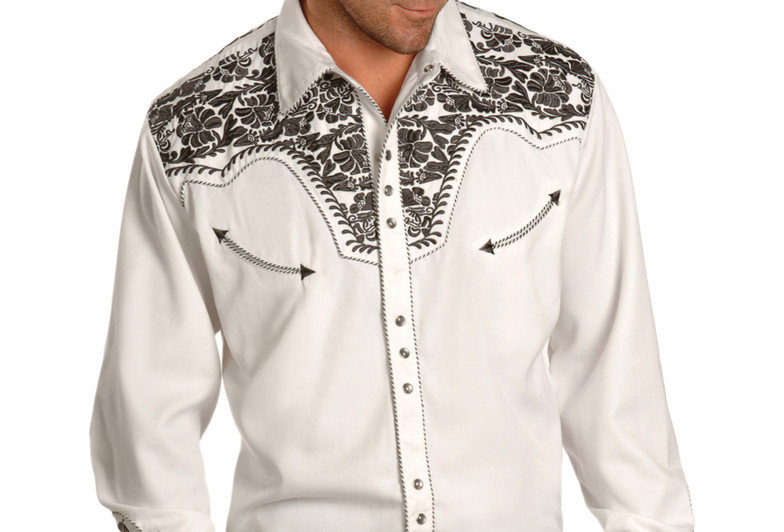 Scully Men's Pewter Embroidered Gunfighter Shirt