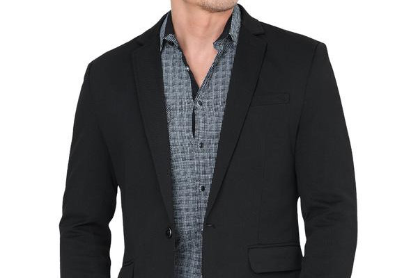 Lamasini Modern Regular Fit Cut Fabric Whit Design Blazer - Black