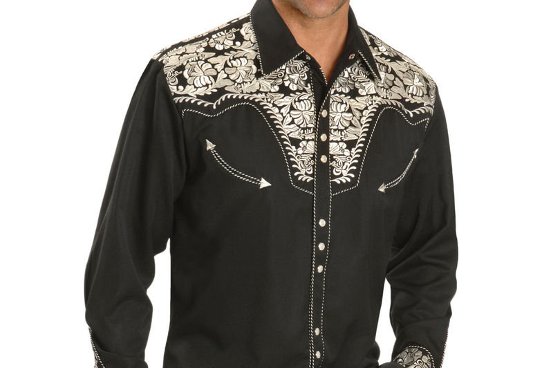 Scully Men's Silver Embroidered Gunfighter Shirt