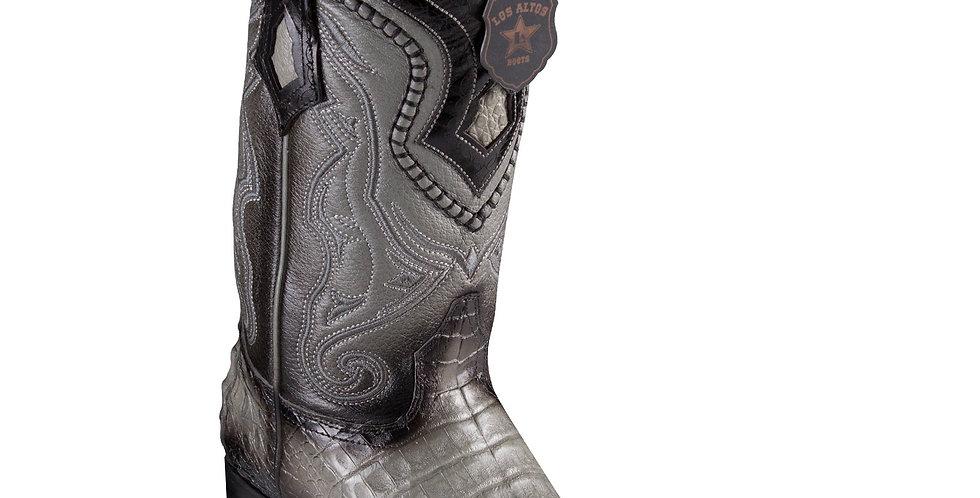 Los Altos Caiman Belly Faded Grey Pointed Toe Cowboy Boots
