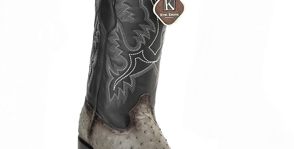 King Exotic Men's Ostrich Square Toe Boots
