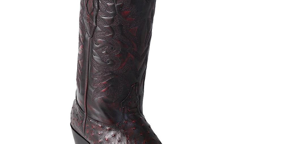 Los Altos Men's Black Cherry Ostrich Square 7-Toe Cowboy Boots