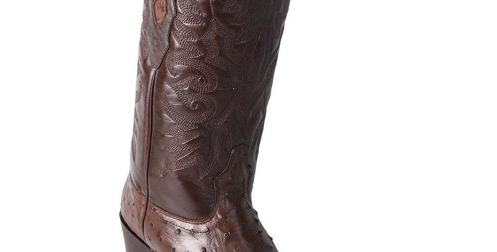 Los Altos Men's Brown Ostrich Square 7-Toe Cowboy Boots
