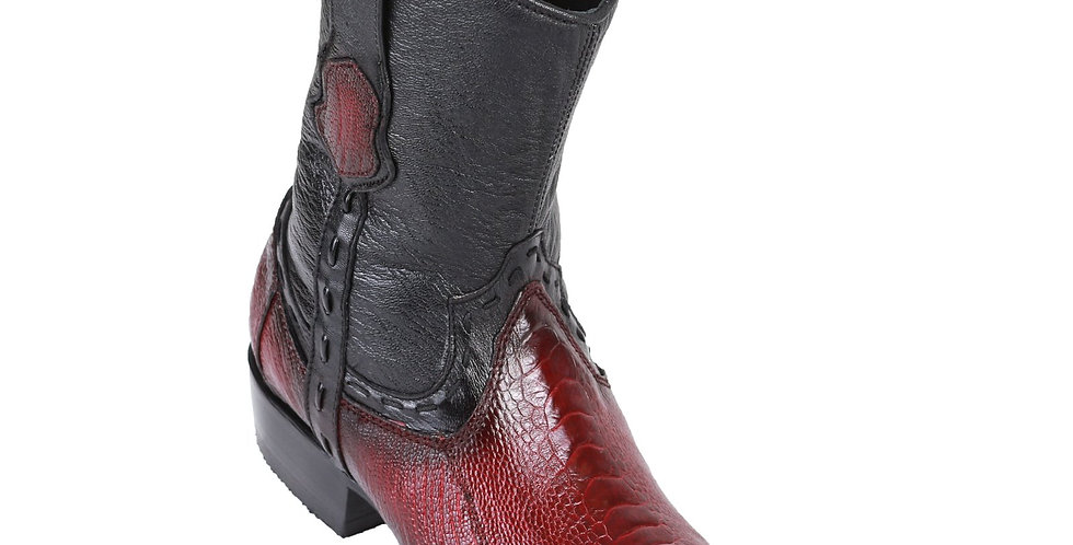 King Exotic Men's Ostrich Leg Boots Faded Burgundy - H79B Dubai Toe