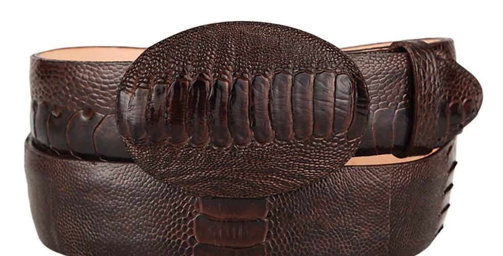 Brown Ostrich Leg Cowboy Belt