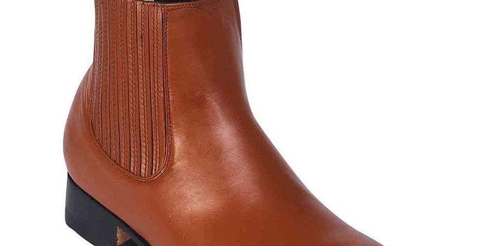 La Barca Men's Caoba Leather Botin Charro